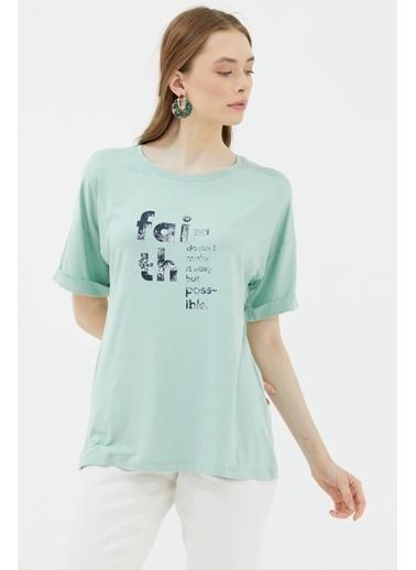 Sementa Yarasa Kol Baskılı Geniş Kalıp T-Shirt - Yeşil Yeşil